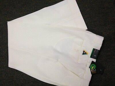 NEW Mens Lawn Bowls BA logo Trousers CITY CLUB Flexi Waist Belt Loop WHITE