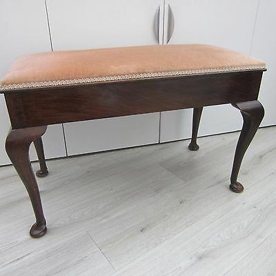 Vintage Wooden Double / Duet Piano Stool With Lift Up Padded Seat & Storage
