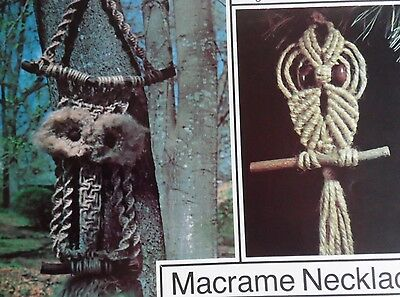 MACRAME FOR BEGINNERS BOOK Patterns Owls Hangings Jewelry Pot Hanger 12 Projects
