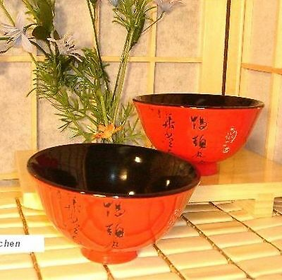 2 PC Japanese Style Rice Soup Bowls Bowl Red/Black Japanese Calligraphy X6401/A