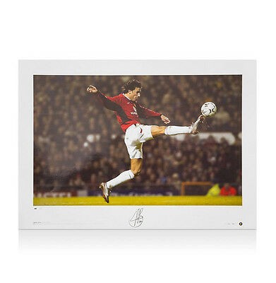 Ruud Van Nistelrooy Hand Signed Manchester United Photo - Leaping Kick
