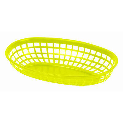 """6 PC Plastic Fast Food YELLOW Commercial Baskets Tray 9-3/8"""" Oval PLBK938Y"""