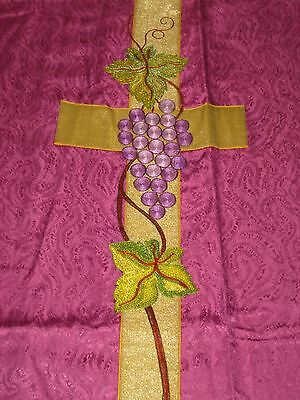 Gotische Kasel In Violett Attribute Auf Gold Stab Chasuble Messgewand Meße Antik