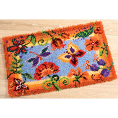 "Butterfly & Flowers latch hook kit Rug Kit 26x16"" latch hook canvas by Vervaco"