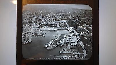 C 1920 Victoria Inner Harbour Vancouver Island Magic Lantern Glass Slide