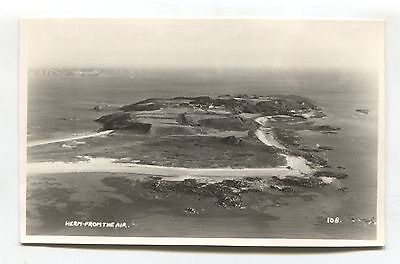 Herm, Channel Islands - from the air - c1950's RP postcard by Norman Grut