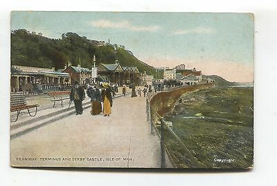 Derby Castle, Isle of Man - Tramway Terminus, tram, people - old postcard
