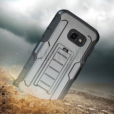 Rugged Hybrid Holster Armor Case Belt Clip Cover For Samsung Galaxy X cover 4