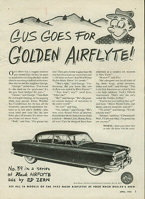 Gus goes for Nash Golden Airflyte ad by Ed Zern 1952