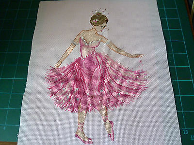 completed cross stitch picture of Ballerina