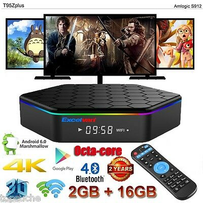 T95Z Plus 4K*2K Dual WiFi 2/16Go Smart TV Box S912 OctaCore Android 6.0 3D 1080P