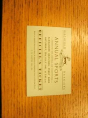 23/07/1949 Ticket: Athletics - Birchfield Harriers Annual Sports Meeting [At Ale