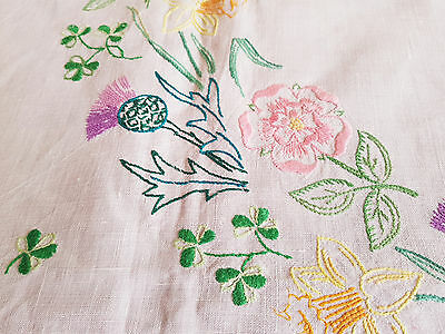 "Vintage Hand  Embroidered Linen Tablecloth 39"" By 41"" Large Circle Of Flowers"