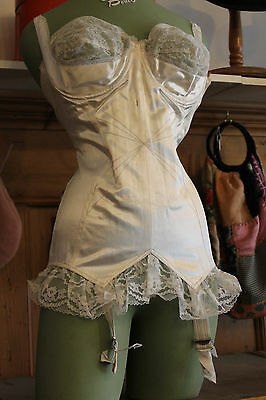 Vintage Full Body Corset/girdle White Satin Bullet Bra Burlesque