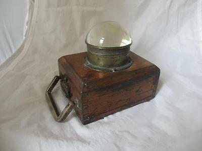 Early wooden & glass lens torch or signaling device antique c.1890. DGC01756