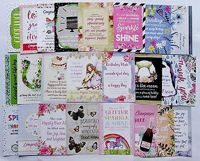 REDUCED Hunkydory Little Book Card Delightful Verses Toppers x 24 Sheet