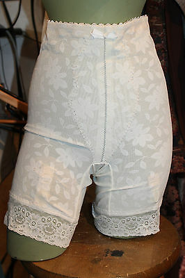 VINTAGE WHITE KNICKERS Suspenders Girdle Polyester French underwear S