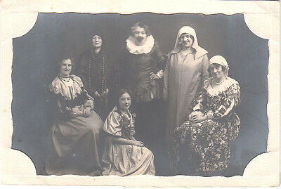 Postcard in card folder by Clapperton, Selkirk with Theatrical cast?