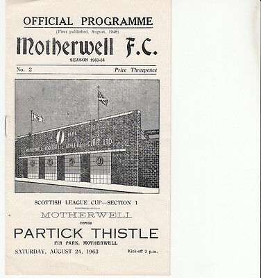 Motherwell v Partick Thistle 1963 Scottish League Cup programme