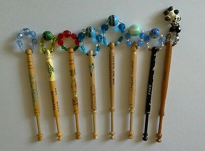8 lacemaking bobbins, Thameside Lacemakers, 1997 - 2004
