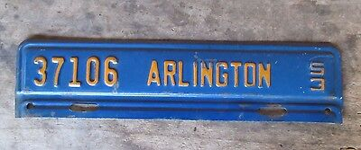 Vintage License Plate Topper Arlington Virginia VA Metal Automobile 1953