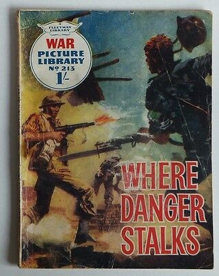 """WAR Picture Library. # 213 """"Where Danger Stalks"""", issued 1963 - 54 years old."""