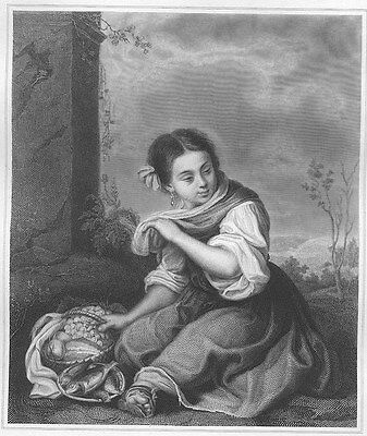 YOUNG POOR COUNTRY FARMER SPANISH GIRL EATING ~ 1864 MURILLO Art Print Engraving