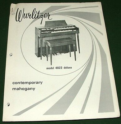 Service Manual for WURLITZER Organ 4022 & Deluxe 4022D w-Schematics, Layouts,...
