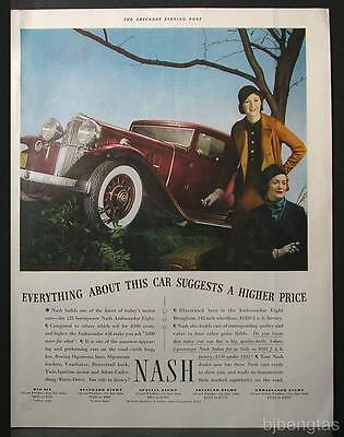 1933 Red Nash Ambassador Eight Brougham Slipstream Lines Vintage Print Ad