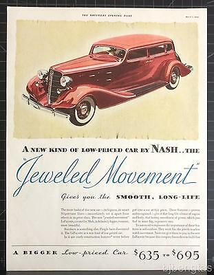 1934 Nash Jeweled Movement LaFayette Red 4-Door Sedan Blue Coupe Print Ad