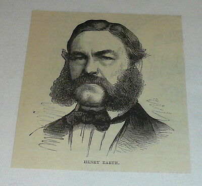 1877 small magazine engraving ~ HENRY BARTH ~ African Explorer