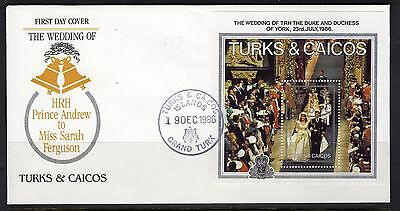1986 Turks E Caicos - Fdcb - Royal Wedding Andrew And Sarah #m528