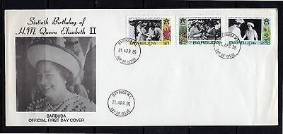 1986 Barbuda - Fdc - 60Th Birthday Queen Elizabeth Ii #m522