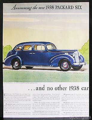 1938 New Blue Red Packard Touring 6 & 8 Sedan 2-Page Vintage Print Ad