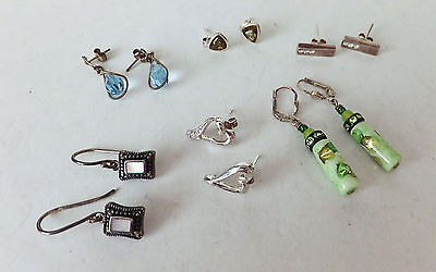6 Assorted Pairs of 925 Sterling Silver Earrings