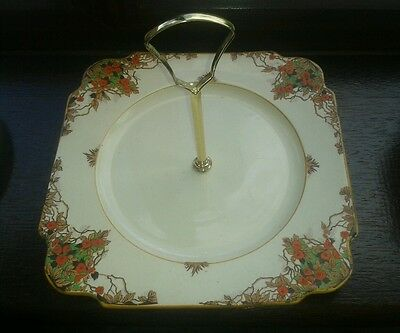 Vintage square cake plate with handle