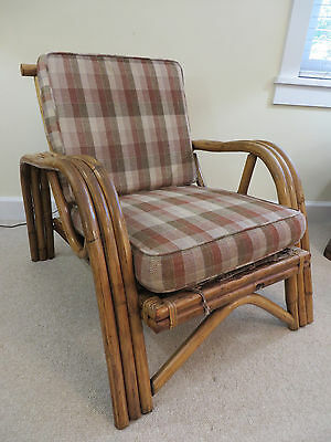 Mid Century Bamboo Lounge Chair Vintage Rattan Retro Thick Cushions Sleek Solid