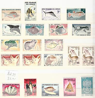 Cotes de Somalis France colonies Animals fish Mint Hinged and Used Lot 99