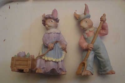 Pair of Farmer Rabbit Figurines Female w/Wagon Male w/Rake Midwest Resin 3 1/2""