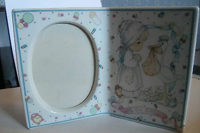 "Precious Moments Ceramic Frame Nursery Stork Girl Joy On Arrival Photo 3""x2"""