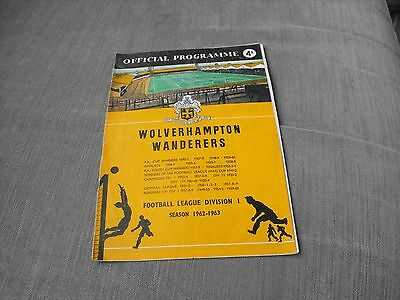 WOLVERHAMPTON WANDERERS v LIVERPOOL 29/9/62, DIVISION 1