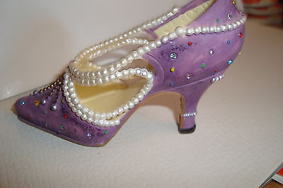 Small Miniature Ladies Shoe Slipper High Heel  Ornament Pearls Sparkles Mauve