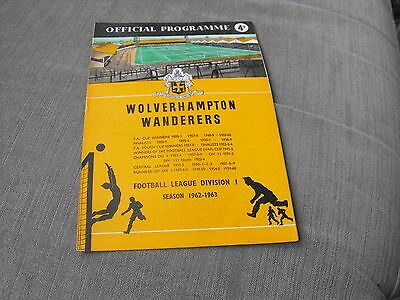 WOLVERHAMPTON WANDERERS v SHEFFIELD WEDNESDAY 3/11/62, DIVISION 1