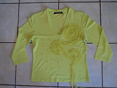 T-shirt Manches 3/4-*- vert anis-*-BETTY BARCLAY-*-Taille 38
