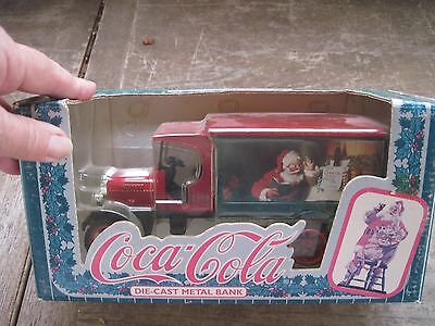 1993 Coca-Cola Die-Cast Metal Bank with Santa Logo on Side in Box..Kenworth-1925