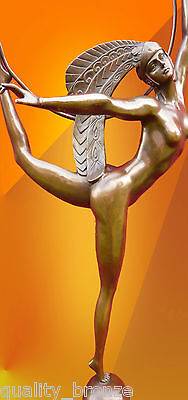 FRENCH ART DECO, Signed MORANTE HOOP DANCER BRONZE HOT CAST NUDE STATUE FIGURE