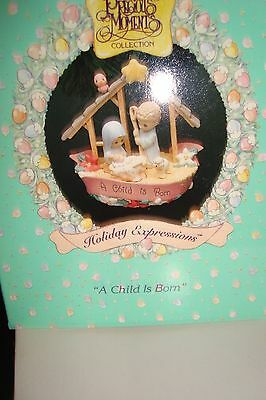 "A Child Is Born  1994 Precious Moments Ornament 3"" x 2 1/2"" Manger Scene"