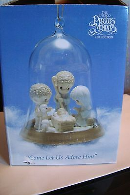 "Come Let Us Adore Him ; Precious Moments Ornament Clear  Dome 1993 3/12"" x 4"""