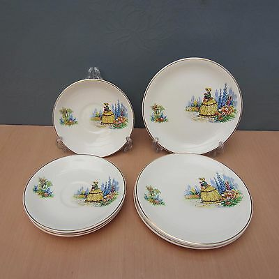 "Alfred Meakin ""crinoline Lady"" - 4 Saucers And 4 Side/tea Plates"