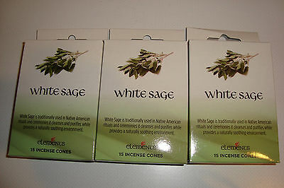 Genuine Elements~White Sage~ Indian Incense Cones~3 PACKS of 15 cones~uk seller